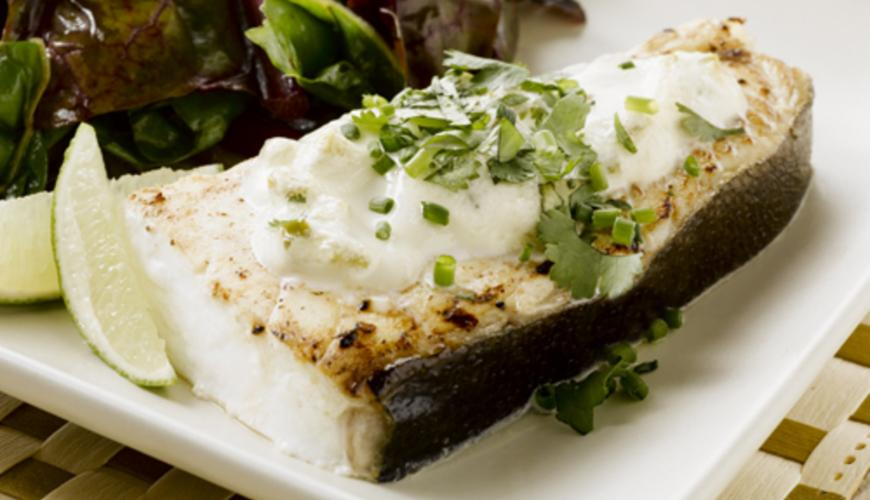ALASKA HALIBUT WITH GREEN CHILI BLANKET